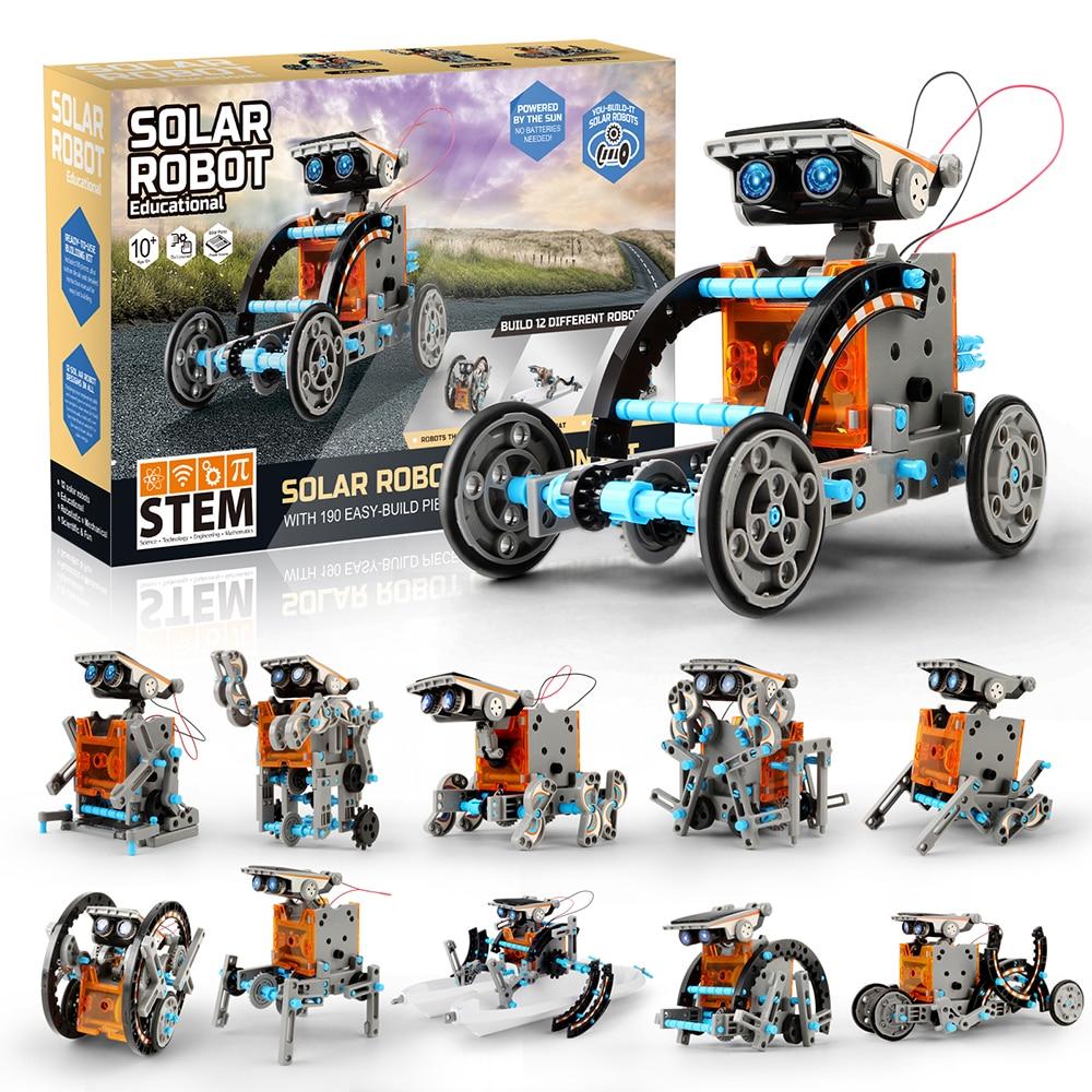 Kit de 190 pièces de création de Robot solaire 12-en-1 pour enfants avec moteur motorisé à énergie solaire et engrenages