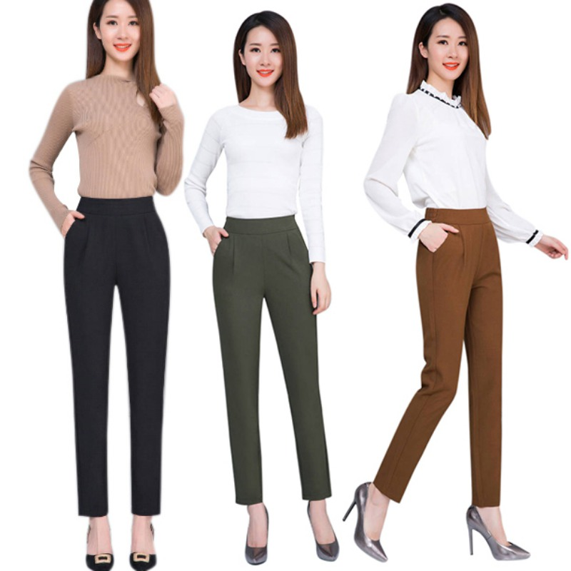Women Casual Harem pants Spring Autumn Fashion Loose Ankle-length Trousers Female Classic High Elastic Waist Black Pants