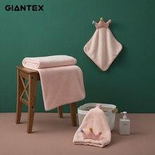 Towel-Set GIANTEX Toallas Recznik Adults Coral 3pcs for Serviette-De-Bain Fleece Super-Absorbent