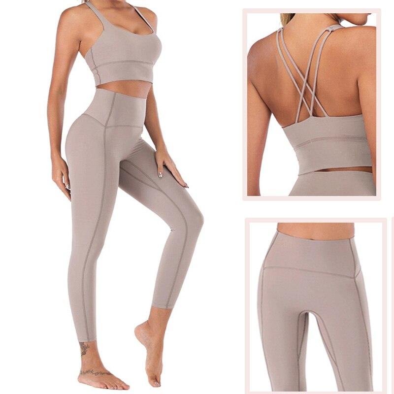 Set de mallas de Yoga de tacto desnudo, conjunto de mallas de Yoga para mujer, conjunto de mallas de entrenamiento de cintura alta para gimnasio, ropa deportiva para gimnasio