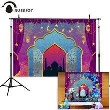 Allenjoy Ramadan Kareem Aladdins Achtergrond Indiase Arabische Night Moon Stage Boog Gordijn Fotografie Achtergrond Verjaardag Photocall