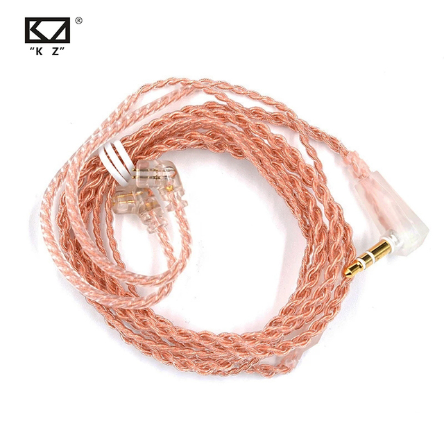 KZ ZSN Pro Cable Oxygen Free Copper C Style Pink Gold Headphone Original Wire Gold plated 2 Pin 0.75mm for KZ ZSN/AS12/ZS10 Pro