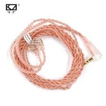 Kz zsn pro cabo sem oxigênio cobre c estilo rosa ouro fone de ouvido fio original banhado a ouro 2 pinos 0.75mm para kz zsn/as12/zs10 pro