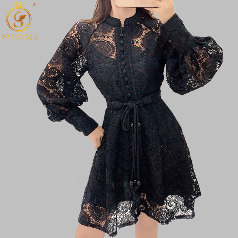 SMTHMA New Autumn And Winter Lantern Sleeve Lace Chic Dress Women Single-breasted Runway Dress Vestidos Free Belt
