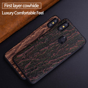 Image 1 - Cowhide Phone Case For Xiaomi Redmi Note 5 6 6a 7 7a 8 Pro For Mi 8 9 se 9T A1 A2 A3 lite Y3 Poco F1 Mix 2s 3 Bark texture Cover