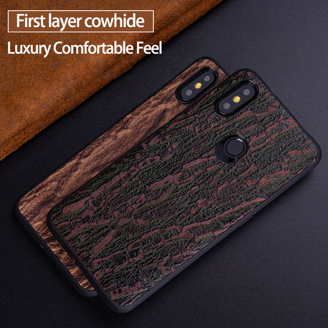 Cowhide Phone Case For Xiaomi Redmi Note 5 6 6a 7 7a 8 Pro For Mi 8 9 se 9T A1 A2 A3 lite Y3 Poco F1 Mix 2s 3 Bark texture Cover