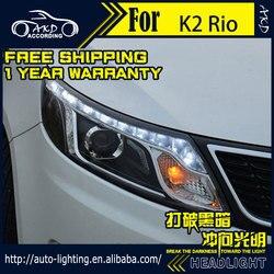 AKD سيارة التصميم رئيس مصباح ل كيا K2 المصابيح الأمامية 2011-2014 ريو LED العلوي LED DRL H7 D2H Hid الخيار الملاك العين ثنائية زينون شعاع