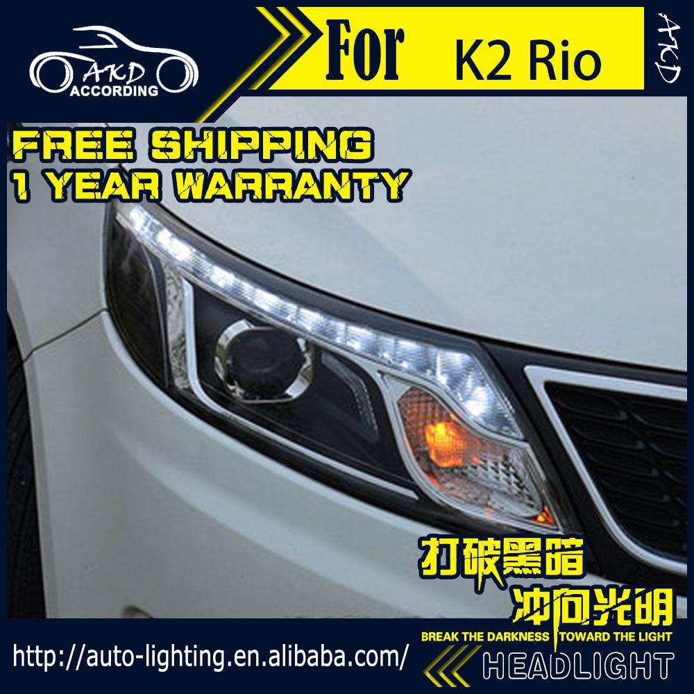 AKD Car Styling Head Lamp For Kia K2 Headlights 2011-2014 Rio LED Headlight LED DRL H7 D2H Hid Option Angel Eye Bi Xenon Beam