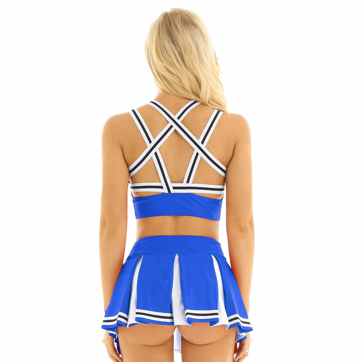 Frauen Erwachsene Charming Cheerleader Uniform Cosplay Clubwear Phantasie Kostüme Pentagramm Back Crop Top mit Mini Plissee Rock Set