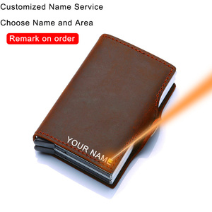 Image 1 - Genuine Leather Men Women Credit Card Holder Security Wallet Big Metal Rfid Blocking Double Box Creditcard Case Bag Protection