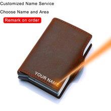 Tarjetero de cuero genuino para hombre y mujer, billetera de seguridad con bloqueo Rfid de Metal grande, funda para tarjetas de crédito, protección para bolso