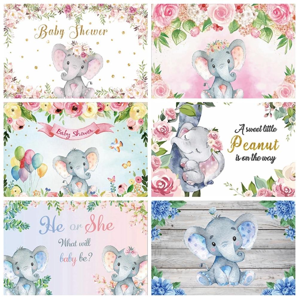 Фон для фотосъемки новорожденных с изображением слона и цветка
