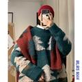 Winter Weihnachten Baum Pullover Männer Warme Mode Kontrast Farbe Casual Oansatz Stricken Pullover Mann Lose Langarm Pullover Männlich