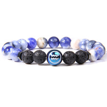 2019 Constellations Bracelet Astrology 12 Zodiac Horoscope Bracelets Men Natural Frosted Stone Bead For Women