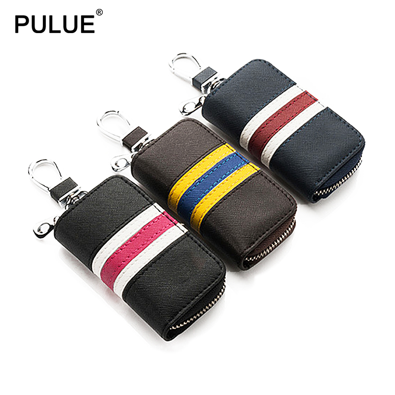 New High Quality Leather Key Wallets Fashion Men Car Key Case Small Key Bag Protective Sleeve Leather Key Chain Holder Pouch
