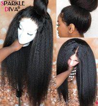 Kinky reta peruca dianteira do laço 13x4 frente do laço perucas de cabelo humano para preto feminino 150% den peruca frontal do laço com o cabelo do bebê remy cabelo
