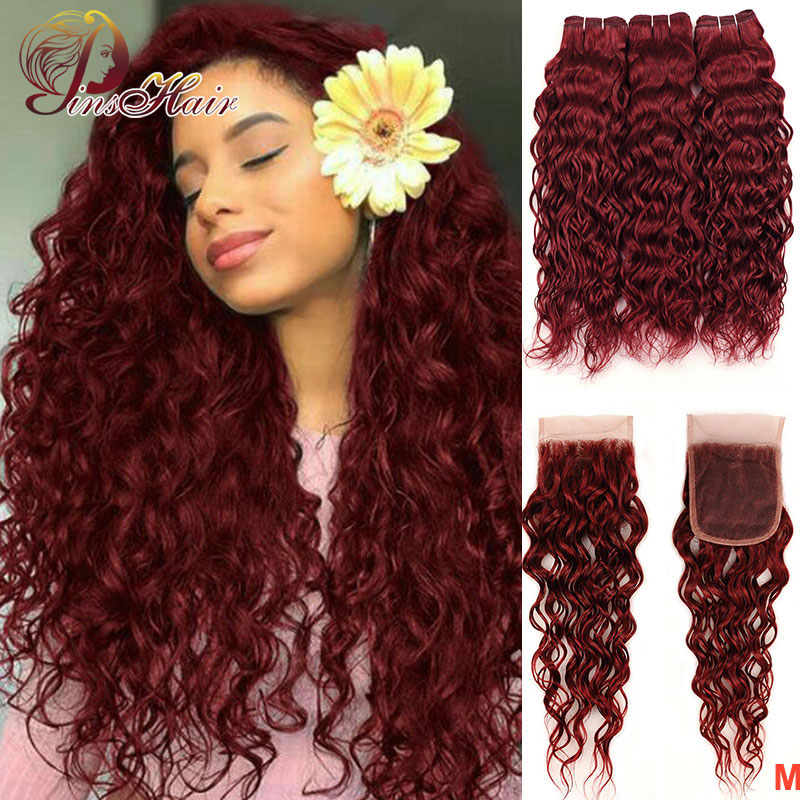 99J Colored Water Wave Bundles With Closure Brazilian Human Hair Bundles With Closure Pinshair Non-remy Pre Plucked Hairline