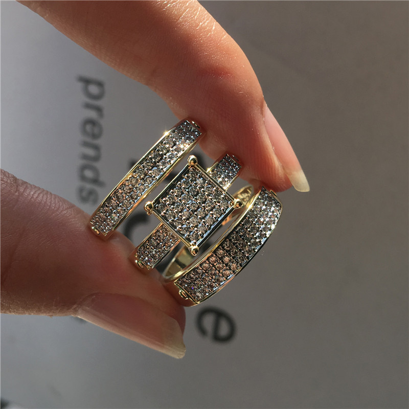 Luxury Fashion Female Crystal White Zircon Ring Set Yellow Gold Wedding Rings Bridal Sets Promise Engagement Rings For Women image