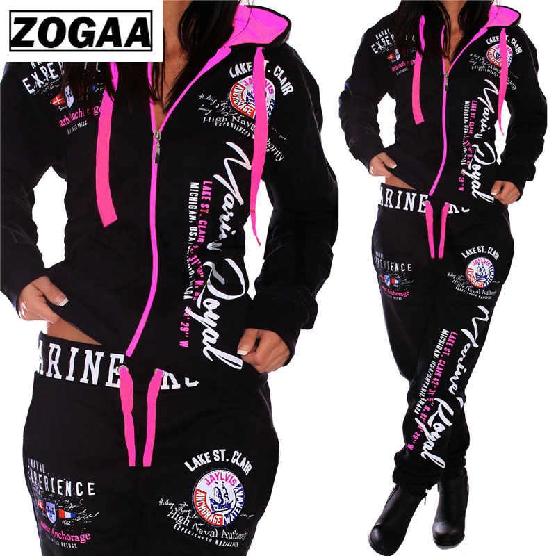 ZOGAA chándal de moda para mujeres S-3XL nueva marca de ropa deportiva Casual Sudadera con capucha y pantalones traje de mujer