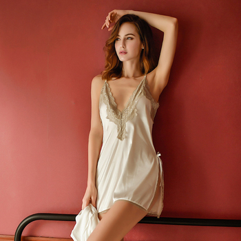 2020 sexy Ladies Sexy Lace embroidery Nightdress Nighties V-neck Nightgown Nightdress Lace Sleepwear Nightwear Women Homewear ladies sexy nightdress straps perspective pattern sexy sleepwear detachable chest pad lace sexy ladies home service