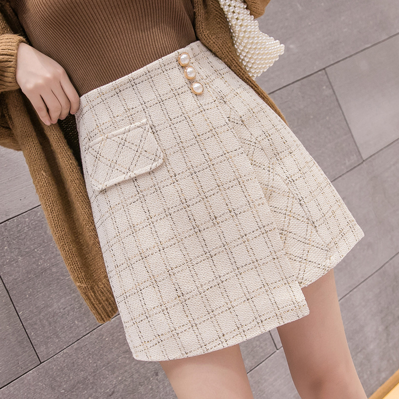 Plaid Short Skirt Women's Autumn And Winter 2019 New Style Outer Wear High-waisted A- Line Irregular Skirt Wrapped Skirt One-ste