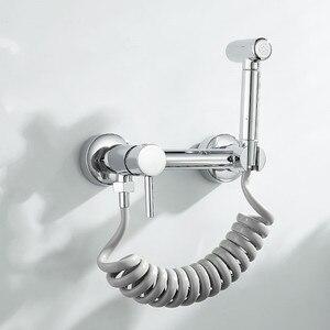 LIUYUE 비데 세트 크롬 새로운 유형 솔리드 브래스 경감 님이 튜브 차가운 온수 샤워 믹서 비데 스프레이 건 헤드 세척 깨끗한 화장실