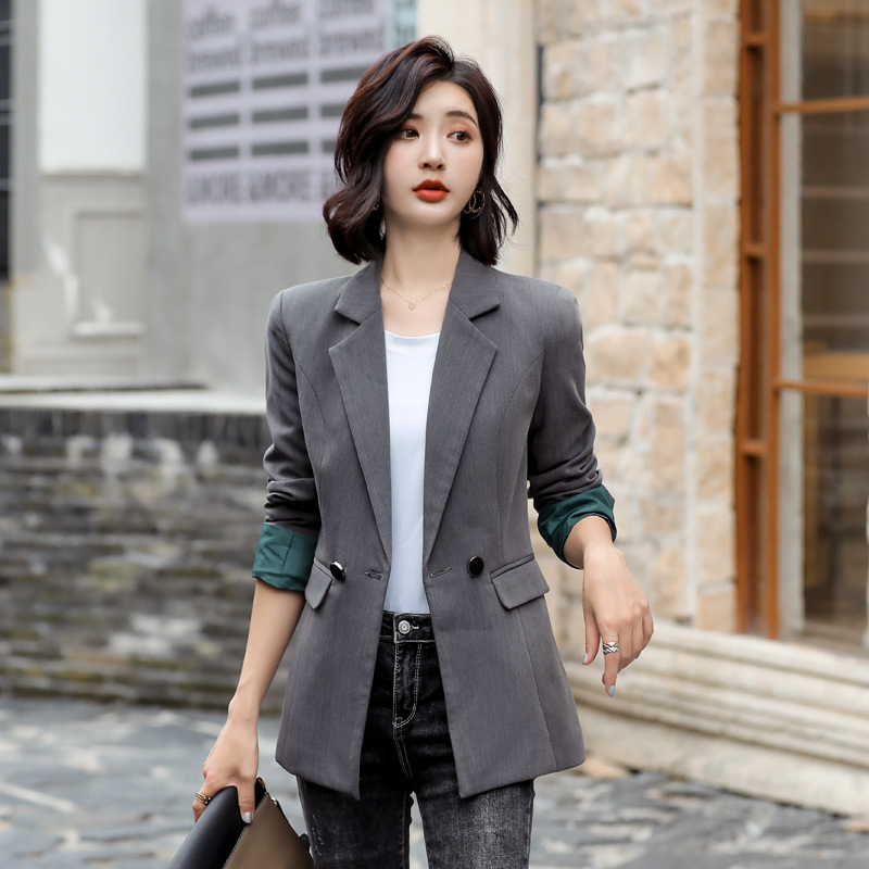 Women's Jacket 2019 Autumn New Casual Fashion Slim Temperament Was Thin Solid Color Single Buckle Small Suit Women's Clothes
