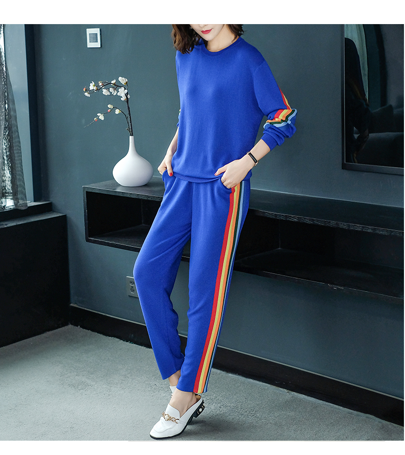 2019 Autumn Knitted Casual Striped Two Piece Sets Outfits Women Sweater And Pants Suits Fashion Elegant Korean Tracksuit Sets 50