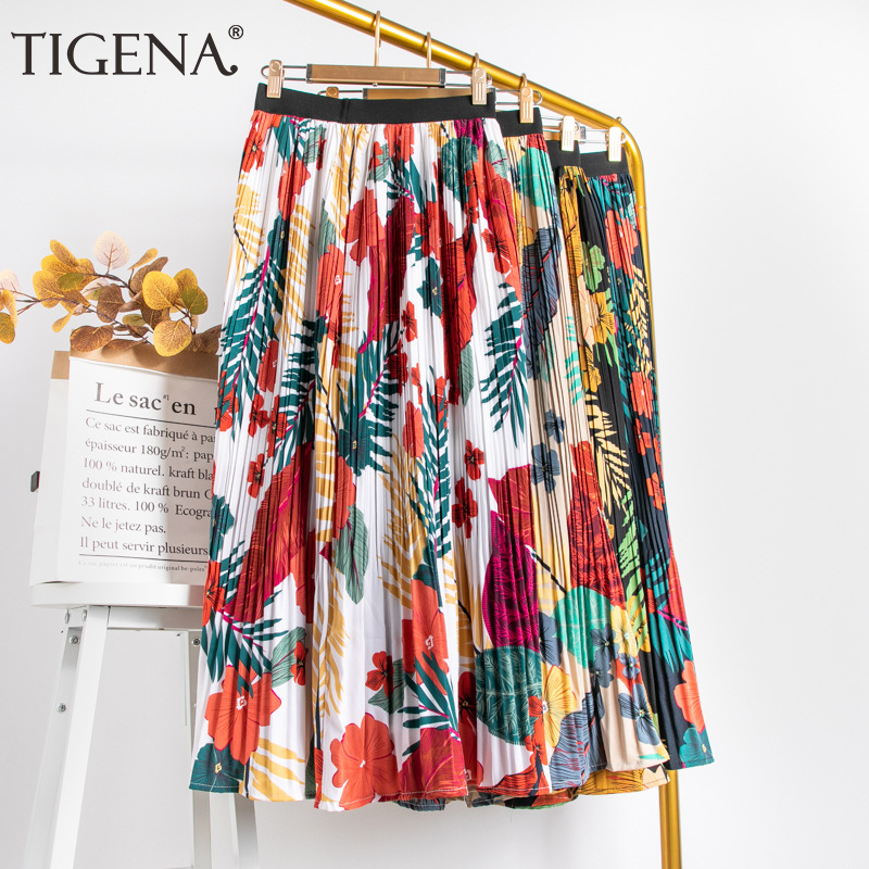 TIGENA Colorful Print Maxi Skirt Women Fashion 2020 Summer Holiday Beautiful High Waist Pleated Long Skirt Female