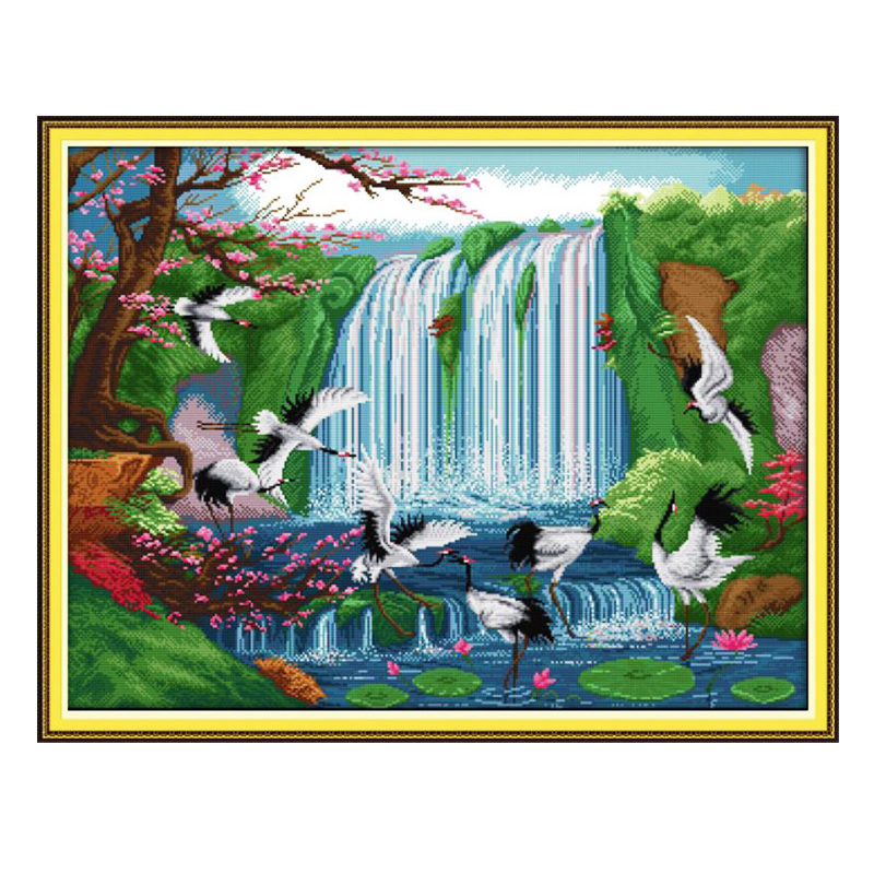 Natural scenery landscape scenery DIY cross stitch embroidery set bird fairy crane print cross stitch home decoration painting-0