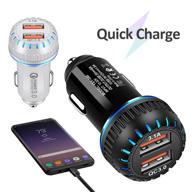 Portable 2-Port USB Car Charger Phone Charger QC3.0 LED-Double USB Fast Charger Car Charger Aperture Car Charger TXTB1