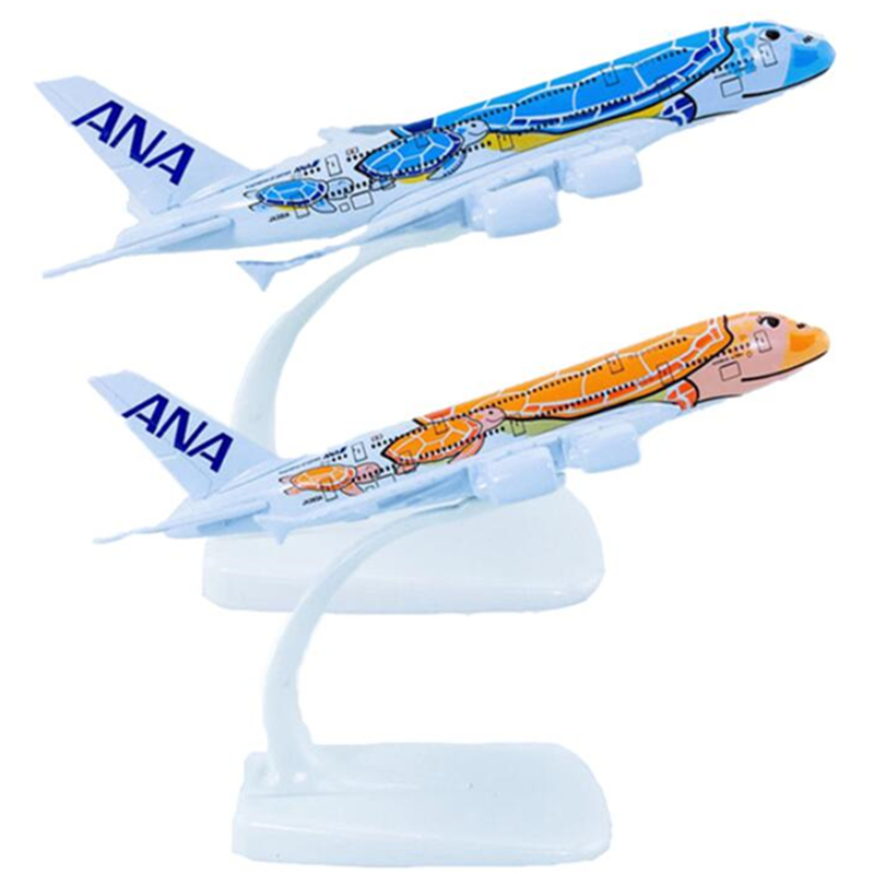 16CM 1:400 Scale Airplanes Japan ANA Airlines <font><b>Airbus</b></font> <font><b>A380</b></font> Blue HONU Lani Ka La Plane <font><b>Model</b></font> Metal Diecast Aircraft collectible image