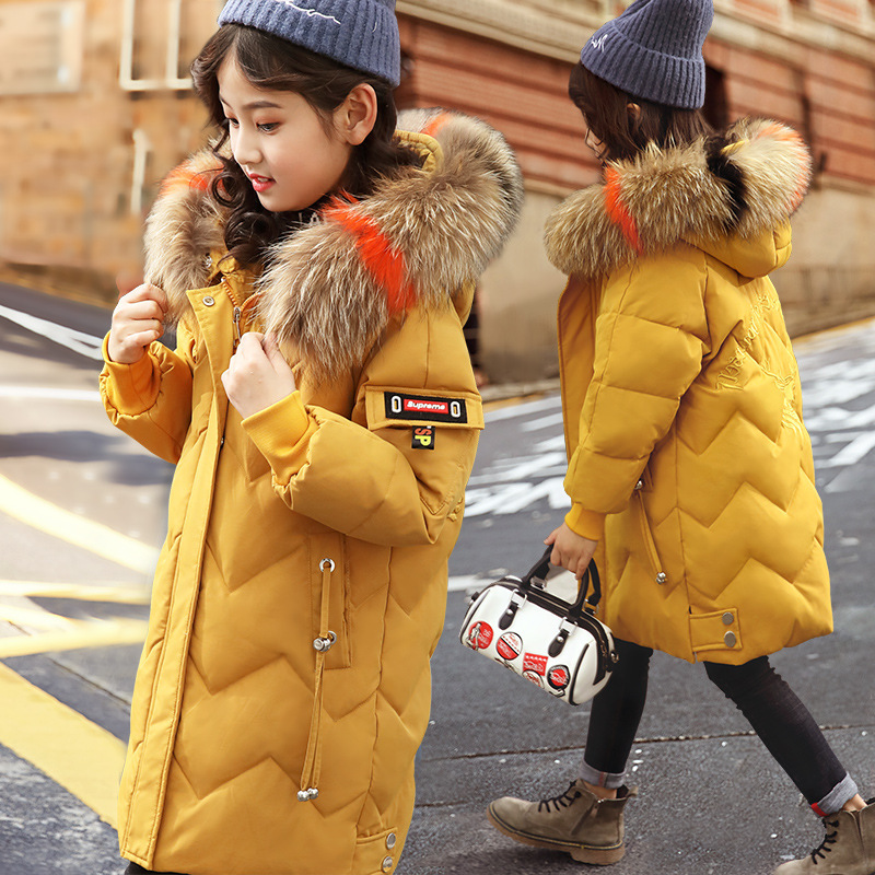 Winter Down Jacket for Girls Clothes parka real Fur Hooded Russian Winter Coat 2019 New Children Outerwear Long Teenage clothing-in Down & Parkas from Mother & Kids