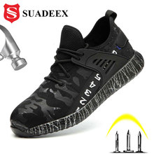 SUADEEX Dropshipping Work Safety Shoes Puncture Proof Steel Toe Safety Boot Soft Light Work Indestructible Shoes For Men Women