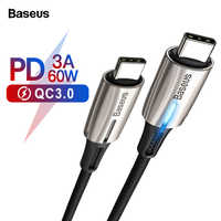Baseus USB Type C Cable To USB C Cable For Samsung S10 S9 USBC PD 60W Fast Charging Charger USB-C Type-C Cable For Xiaomi mi 9 8