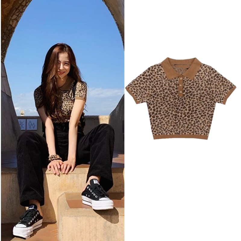 Kpop Blackpink Jisoo Same Summer New Tees Women Fashion Leopard Knitting POLO Shirt Short-sleeve T Shirt Female Retro Short Tops
