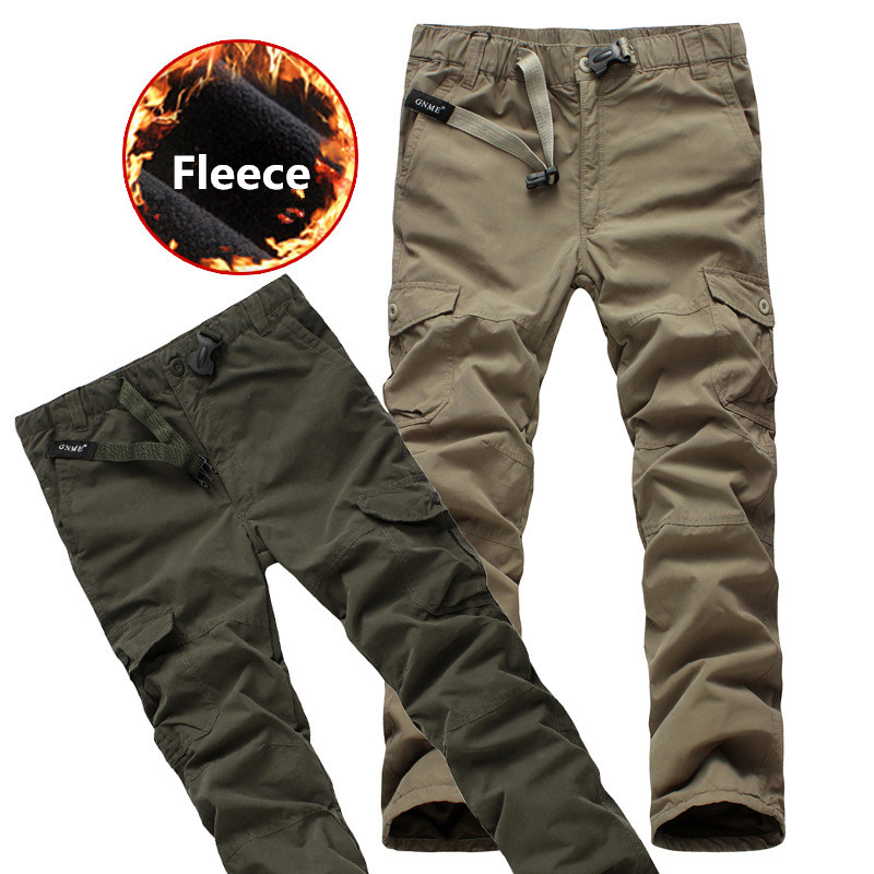 Winter Fleece Double Layer Cargo Pants Men Thick Warm Baggy Pants Casual Cotton Trousers Male Military Overalls Tactical Pants