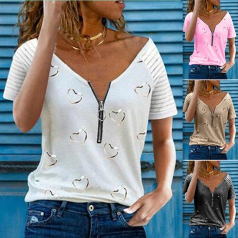 Women s Printed T Shirt V Neck Zipper Casual Loose Short Sleeve Top Summer Fashion