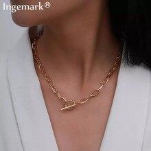 Goth – Collier à bascule en fer doré pour femmes, chaîne minimaliste, cercle lié, Lariat, ras du cou