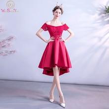 Cocktail Dresses 2020 Short Front Long Back Satin Lace Appli
