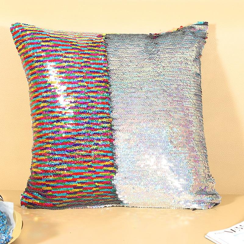 Подушка со стразами в виде русалки, Волшебная блестящая улыбка, декоративная, опт, меняющая цвет, двусторонний, в стиле пэчворк, однотонный чехол для подушки - Цвет: 13