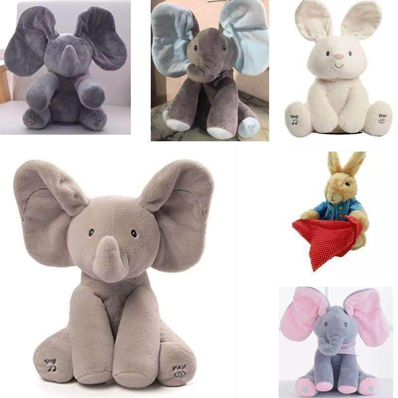 30Cm Cute Peek A Boo Elephant Stuffed Plush Smart Electric Toy Talking Singing Musical Toy Rabbit Hide And Seek For Kids Gift
