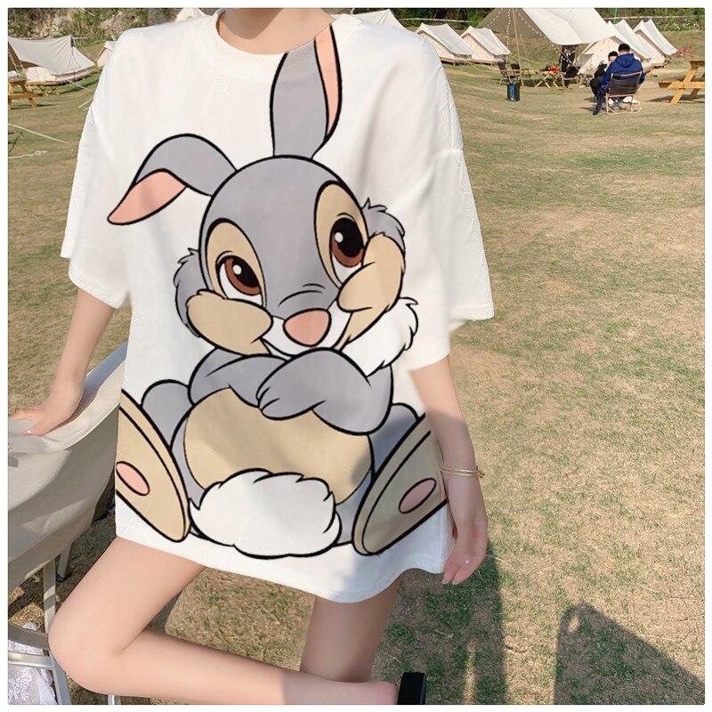 Disney мультяшный Бэмби кролик тампер футболка Топы Лето Повседневные Безразмерные женские Kawaii Ulzzang уличная Harajuku с коротким рукавом