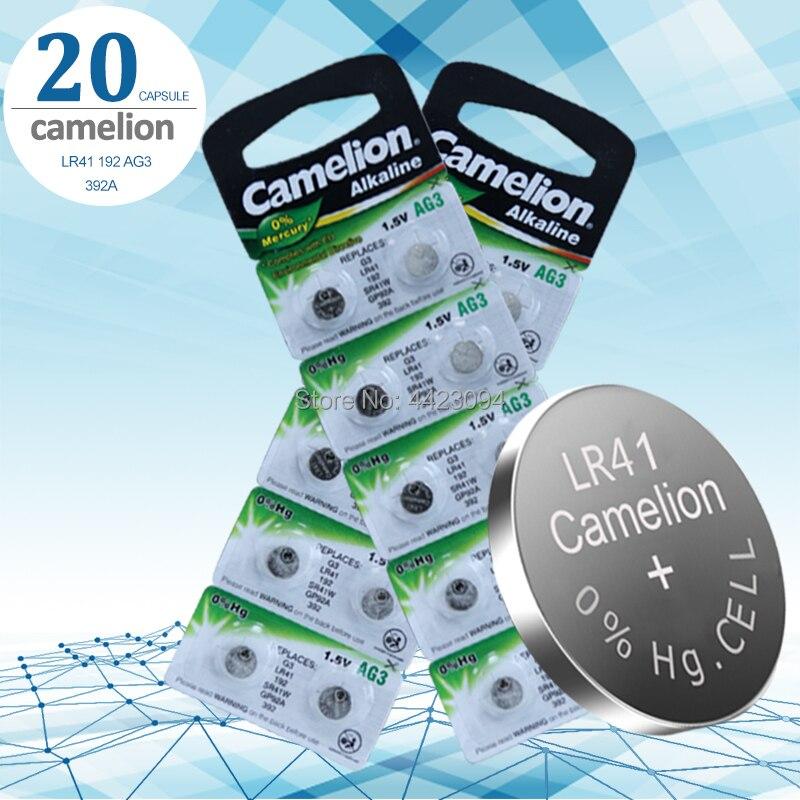 20pcs LR41 Zn/MnO2 1.5V Lithium Coin Batteries Button Cell Batteries Camelion 100% Original SR41 AG3 G3A L736 192 392A
