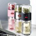 Стеклянная бутылка для воды с фильтром для чая  двойная стеклянная бутылка для воды  утолщенная чашка для разделительной бутылки для чая