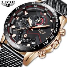 Mens Watches LIGE Top Brand Luxury Waterproof Ultra Thin Date Clock Male Steel Strap Casual Quartz Watch Men Sport Wrist Watch