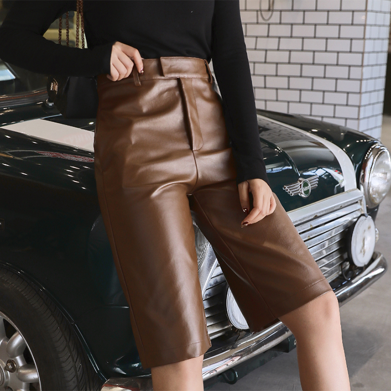 Plus Size British Style Autumn Winter Women's PU Leather Short High Waist Motor Five Point Trouser Casual Straight Overalls