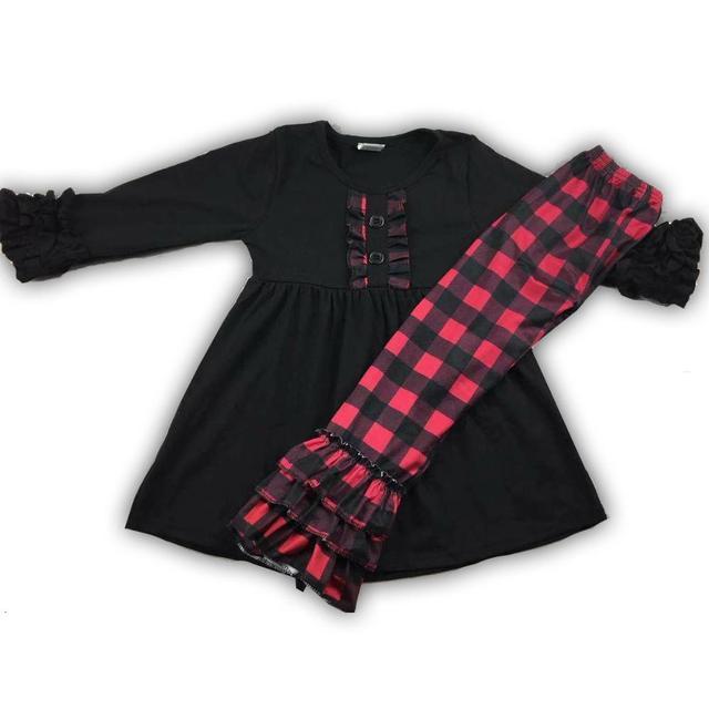 RTSสีแดงและลายสก๊อตสีดำพิมพ์Ruffleหญิงฤดูใบไม้ร่วงชุดสำหรับทารกเด็กวัยหัดเดิน88