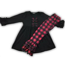 RTS red and black plaid print ruffle girls fall outfits for infant and toddler 88