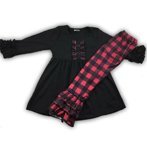 Image 1 - RTS red and black plaid print ruffle girls fall outfits for infant and toddler 88